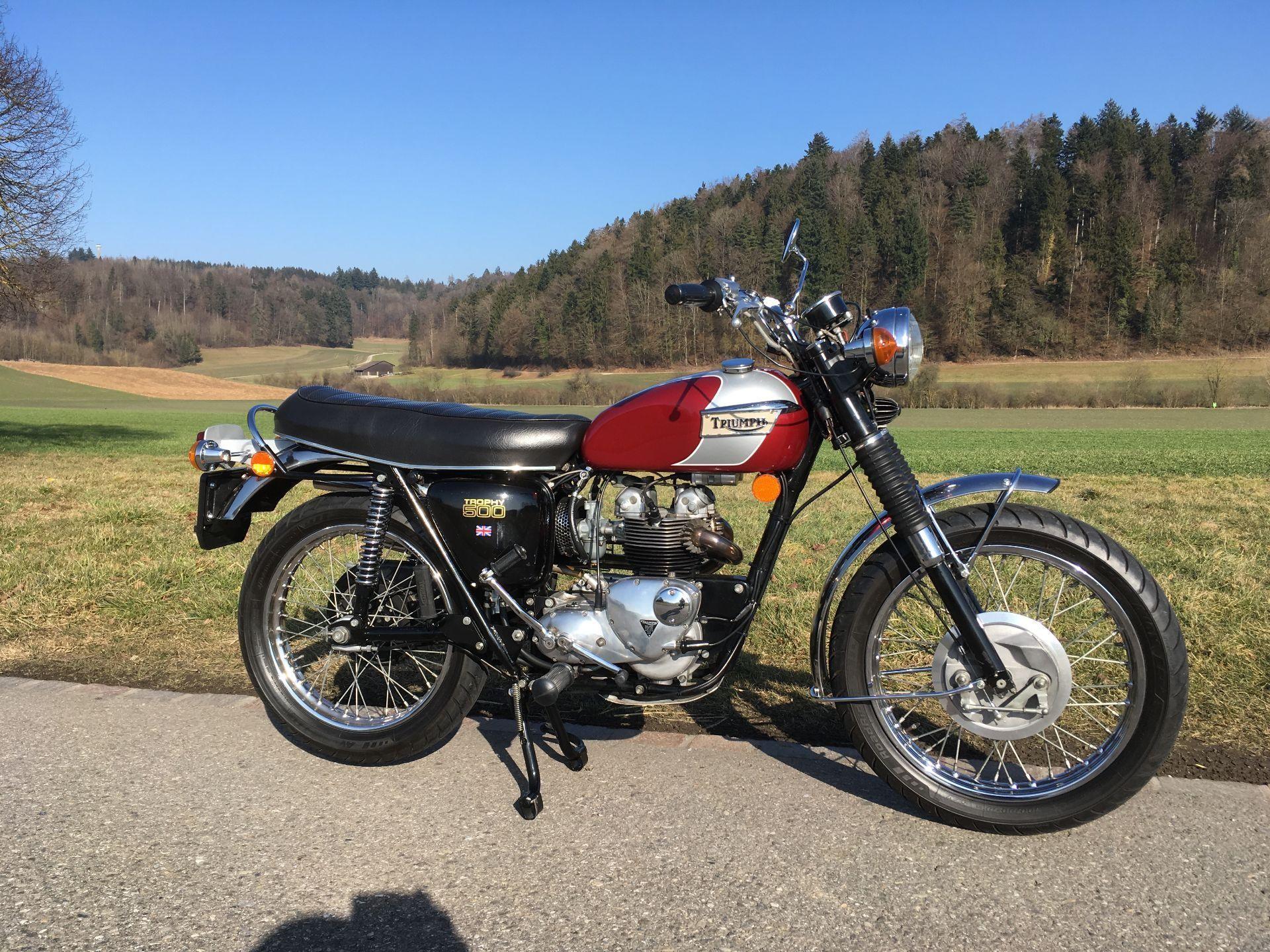 motorrad oldtimer kaufen triumph t100c trophy 500 vintage bike 39 s seon. Black Bedroom Furniture Sets. Home Design Ideas